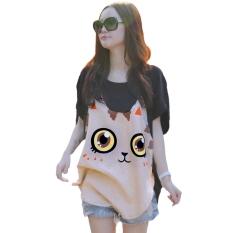 New Casual Women Loose Big Size Bat Sleeve T-shirt Cat Pattern Round Collar - Intl