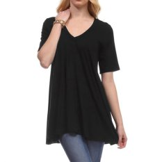 New Casual Women Short Sleeve V-neck T-shirt Solid Loose Leisure Tops Blouse - Intl