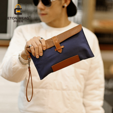 New Clutch Korean Fashion Canvas Men's Handbag Men Clutch Business Clutch Canvas Hand Caught Small Bag -Black