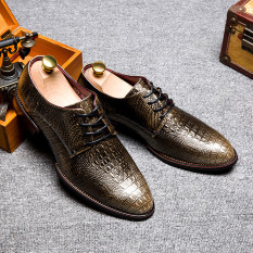 New Fashion British Style Brand Classic Men's Crocodile Lines Shoes Mens Dress Business Shoes Leather Shoes-bronze - Intl