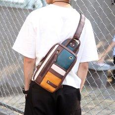 New Fashion Leisure Men Chest Bag Women Korean Montage Cool Men's Handbag Bag Single Shoulder Crossbody Bag Backpack -Coffee
