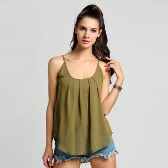 fe2e8e8f175b89 New Fashion Women Casual Sleeveless Loose Chiffon Spaghetti Strap Tank Tops  - intl