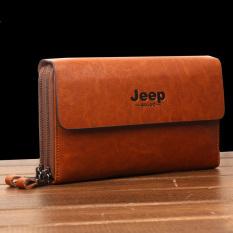 New Jeep Handbag Genuine Cowhide Leather Clutch Soft Male Men Cowhide Leisure Hand Caught Double Zipper Bag (Camel) - Intl