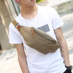 New Leather Waist Bag Men Small Chest Bag Korean Men's Handbag Outdoors Leisure Small Waist Bag Cool Men Small Bag -Army Green