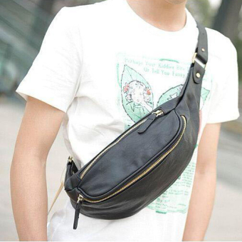 New Leather Waist Bag Men Small Chest Bag Korean Men's Handbag Outdoors Leisure Small Waist Bag Cool Men Small Bag -Black