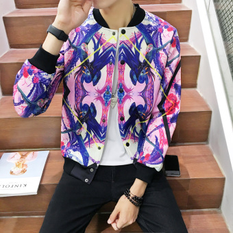 New Men Korean Slim 3D Printing Collar Jacket