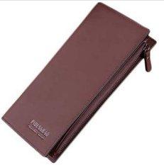 New Men's Long Leather Credit Card Holder Purse Zip Pocket Wallet Handbag Clutch Brown (INTL)