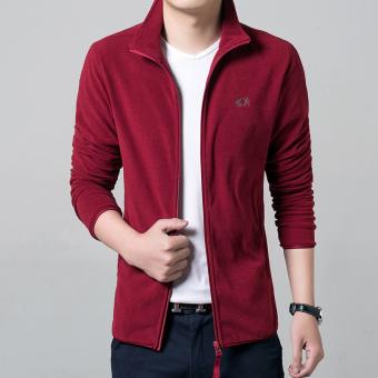 New Men's Long-sleeved Slim Jacket (Red)