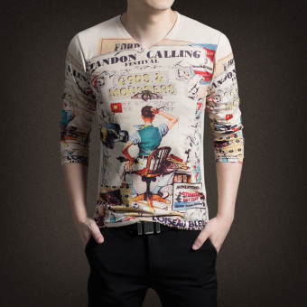 New Men's Long Sleeved V-neck Cotton 3D Printing T-shirt(Multicolor)