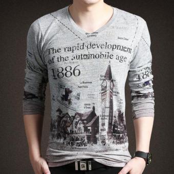 New Men's Long-sleeved V-neck Printing T-shirt (Grey)