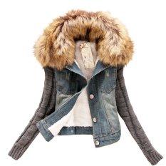 New Spring And Autumn Denim Coat Korean Version Of Nagymaros Collar Wool Sleeve Plus Size S-5XL