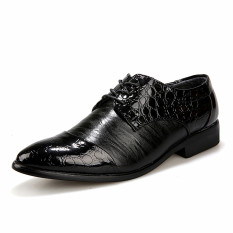 New Style Men's Fashion Leather Formal Business Shoes (Black) - Intl
