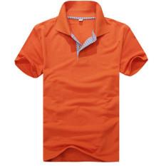New Style Men's Simple Fashion Short Sleeve Cotton Polo Shirts Slim Fit Polo Shirt Size S-XXL (Orange) - Intl