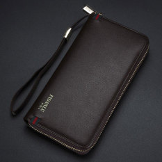 New Style Men's Wallet Business Zipper Purse Large Capacity Men Handbag Coffee 2
