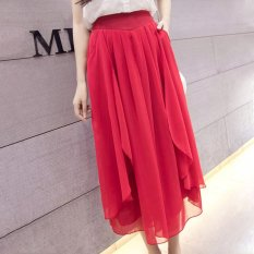 New Summer Thin Chiffon Loose Type Wide Leg Pants Cropped Trousers (Red) - Intl