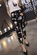 New Summer Womens Basics Pants Ladies Harem Pants Trousers Loose Floral Printed Pantalon Femme Lulu Leggings Girls Sweat Pants Korean Fashion (Black Floral) - Intl