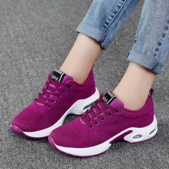 New Trendy Women Sneakers Fly Weave Breathable Women Running Shoes Soft Non-Slip Sole Womens Trainers Outdoor Sports Jogging Shoes(purple) - intl