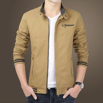 New Winter Fashion Mens Long Sleeve Slim Bomber Jacket (Khaki)