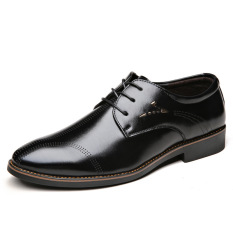 New Winter Men's Business Casual Lace-up Breathable Leather Shoes (Black) - Intl