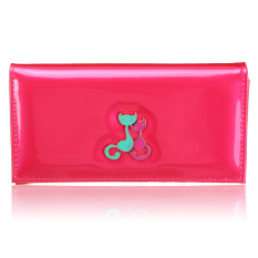 New Women Fashion Cat Bifold Long Wallet Clutch Card Holders Purse Lady Handbag Rose Red