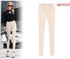 New Women Korean Double Zipper Pencil Pants Elastic Feet Plus Size S-5XL Apricot (Intl) - Intl