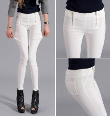 New Women Korean Double Zipper Pencil Pants Elastic Feet Plus Size S-5XL White (Intl) - Intl