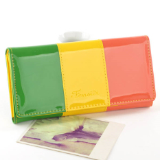 New Womens Cute Colorful PU Leather Wallet Ladys Long Wallet Clutch Card Holder Student Wallet Purse Handbag Color:Green + Yellow + Red B010