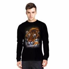 NSClothing Kaos 3D Harimau 6 Lengan Panjang - Hitam