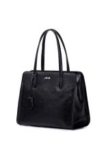 NUCELLE 1170575-01 First Layer Cow Leather Purse Satchel Tote Shoulder Bag Handbag Black