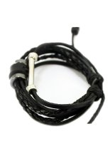 OEM FANCYQUBE Unisex Retro Simple Beaded Leather Braided Wrap Charm Bracelet Jewelry Black