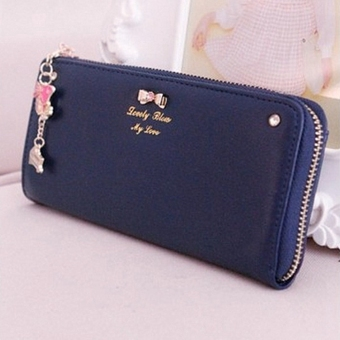 OEM Long Card Leather Purse (Blue)