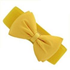 Okdeals Lovely Women Bowknot Elastic Bow Wide Stretch Buckle Waistband Waist Belt Yellow