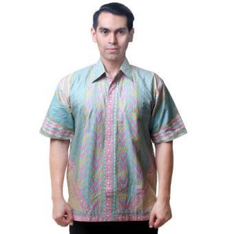 Oktovina-HouseOfBatik Hem Sinaran Katun - Batik Couple HKC-14A - Hijau Pink