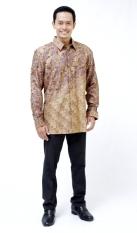 Oktovina-HouseOfBatik Kemeja Batik Sutera - Cokelat Kelabu - Batik Premium KSLP-1
