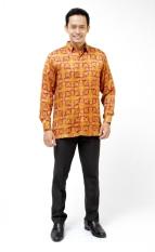 Oktovina-HouseOfBatik Kemeja Batik Sutera - Cokelat Maroon - Batik Premium KSLP-1