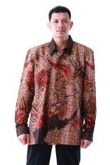 Oktovina-HouseOfBatik Kemeja Batik Tulis Sutra Baron - Batik Tulis Premium KTB-1 - Cokelat Hitam