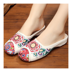 Old Beijing Cloth Embroidered Shoes Slippers Sandals White 35 - Intl