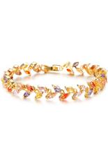 Olen Gold Plated AAA Zircon Leaves Bracelet (Gold)