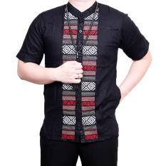 Ormano Baju Koko Muslim Batik Bordir Lengan Pendek Lebaran Hari Raya Pengajian ZO17 KK85 Kemeja Fashion Pria Corak Masa Kini Modern Size L - Hitam