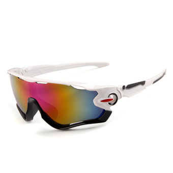 Outdoor sport sunglasses Men&Women colorful lenses Fashion sunglasses (White Purple) - intl