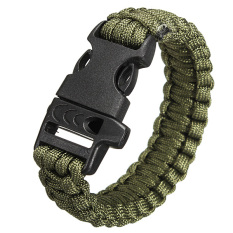Outdoor Survival Paracord Bracelet with Whistle (Army Green)