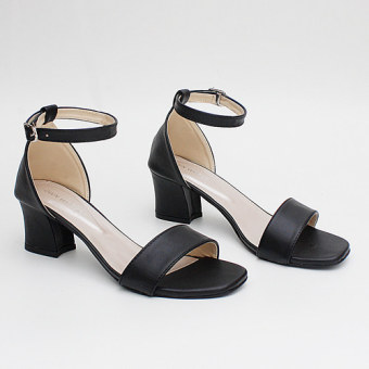 Own Works Open Toe Ankle Strap Block Mid Heel Sandals - Hitam