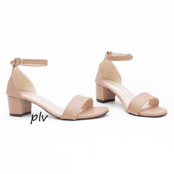 Own Works Open Toe Ankle Strap Block Mid Heel Sandals - Mocca