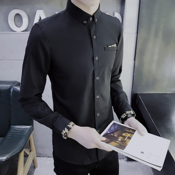 Pakaian Kerja Pria Kemeja Putih Lengan Panjang Trendi Versi Korea (Hitam)