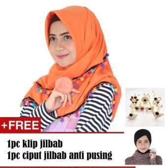 Paket Parisku Segiempat Katun Candy Orange Plus Klip Jilbab Dan Inners Ciput