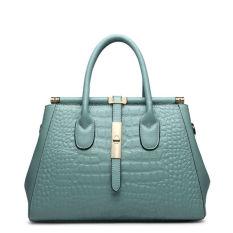 PASTE Brand Designer Women Handbag Luxury Tote Bag Alligator Grain Shoulder Bags Genuine Leather Handbags Fashion Crossbody Bags For Women High Quality (Light Blue)