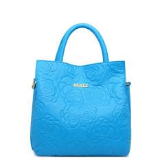 PASTE Women Leather Handbag Genuine Leather Totes Brand Flowers Shoulder Bag Ladies Crossbody Fashion Designer Handbags High Quality (Light Blue)