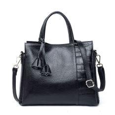 PASTE Women Leather Handbag Genuine Leather Totes Designer Bags Famous Brand Shoulder Bag Ladies Crossbody Fashion Bucket Handbags High Quality (Black)