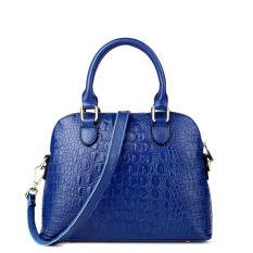 PASTE Women Leather Handbag Medium Tote Bag Luxury Alligator Grain Designer Handbags Ladies Messenger Bags Genuine Leather Fashion Shoulder Bag Brands Crossbody For Women (Blue) - Intl