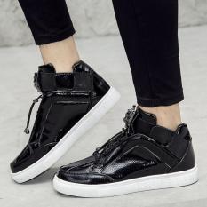 PATHFINDER Fashion Men's PU Hight Cut Shoes Lace Up Men Shoes(Black)